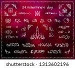 vector set of valentine s and... | Shutterstock .eps vector #1313602196