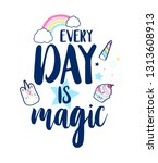 magical icons print design with ...   Shutterstock .eps vector #1313608913