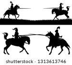 horseback knights fighting in a ... | Shutterstock .eps vector #1313613746
