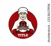 grandmother hand a burger....   Shutterstock .eps vector #1313615906