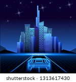 retro wave neon town car | Shutterstock .eps vector #1313617430