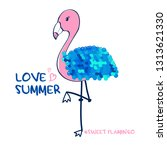 hand drawing flamingo... | Shutterstock .eps vector #1313621330