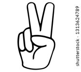 hand gesture victory symbol on... | Shutterstock .eps vector #1313624789