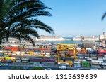 cargo port in barcelona  spain  ... | Shutterstock . vector #1313639639