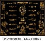 vector vintage dividers ... | Shutterstock .eps vector #1313648819