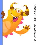 cute little monster cartoon... | Shutterstock .eps vector #1313655590