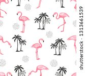 seamless tropical pattern with... | Shutterstock .eps vector #1313661539