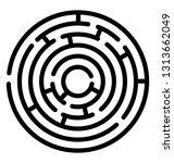 puzzle round maze line icon  | Shutterstock .eps vector #1313662049