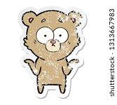 distressed sticker of a cartoon ... | Shutterstock .eps vector #1313667983