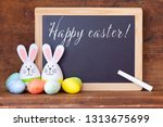 easter bunny eggs and a chalk... | Shutterstock . vector #1313675699