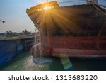 water pumping from sea water to ... | Shutterstock . vector #1313683220