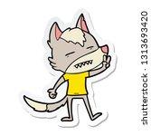 sticker of a cartoon wolf... | Shutterstock .eps vector #1313693420