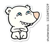 sticker of a cartoon polar bear ... | Shutterstock .eps vector #1313695229