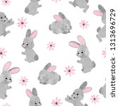 seamless watercolor cute bunny... | Shutterstock .eps vector #1313696729