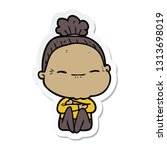 sticker of a cartoon peaceful... | Shutterstock .eps vector #1313698019