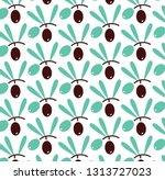 olives vector seamless pattern... | Shutterstock .eps vector #1313727023