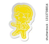 distressed old cartoon sticker... | Shutterstock .eps vector #1313738816