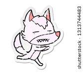 distressed sticker of a cartoon ... | Shutterstock .eps vector #1313744483