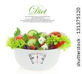 diet meal. vegetables salad in... | Shutterstock . vector #131375120