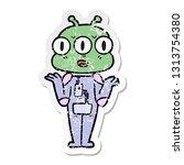 distressed sticker of a cartoon ... | Shutterstock .eps vector #1313754380