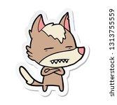 sticker of a cartoon wolf... | Shutterstock .eps vector #1313755559