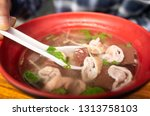pork blood and chitterling soup ...   Shutterstock . vector #1313758103