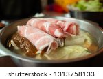 closeup image of hot pot with...   Shutterstock . vector #1313758133