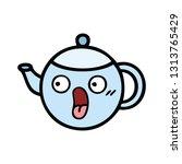 cute cartoon of a teapot  | Shutterstock .eps vector #1313765429