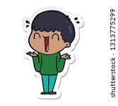 sticker of a laughing cartoon... | Shutterstock .eps vector #1313775299