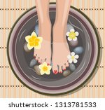 female feet at spa pedicure... | Shutterstock .eps vector #1313781533