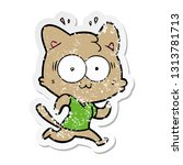distressed sticker of a cartoon ... | Shutterstock .eps vector #1313781713