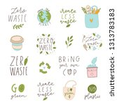 hand drawn elements of zero... | Shutterstock .eps vector #1313783183