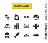 season icons set with overcast  ...