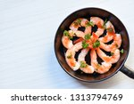seafood plate with shrimps... | Shutterstock . vector #1313794769