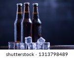 glass bottles of beer with...   Shutterstock . vector #1313798489