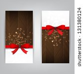 holiday banners with a red bow... | Shutterstock . vector #131380124