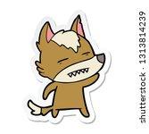 sticker of a cartoon wolf... | Shutterstock .eps vector #1313814239