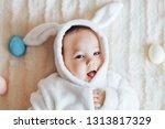 little child wearing bunny...   Shutterstock . vector #1313817329