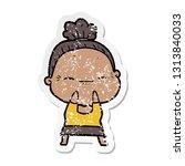 distressed sticker of a cartoon ... | Shutterstock .eps vector #1313840033