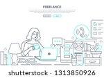 freelance   modern line design... | Shutterstock .eps vector #1313850926