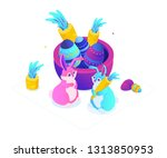 happy easter   modern colorful... | Shutterstock .eps vector #1313850953