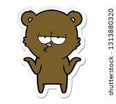 sticker of a bored bear cartoon ... | Shutterstock .eps vector #1313880320
