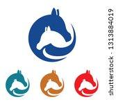 Stock vector horse farm simple cute flat logo symbol 1313884019