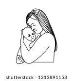 mother and baby sketch | Shutterstock . vector #1313891153