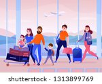 travelers with luggage inside...   Shutterstock .eps vector #1313899769