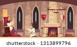 medieval castle hall interior... | Shutterstock .eps vector #1313899796