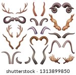 horns set with isolated... | Shutterstock .eps vector #1313899850