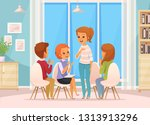 colored cartoon group therapy... | Shutterstock .eps vector #1313913296
