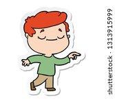 sticker of a cartoon peaceful... | Shutterstock .eps vector #1313915999