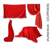 red silk cloth set vector....   Shutterstock .eps vector #1313943656